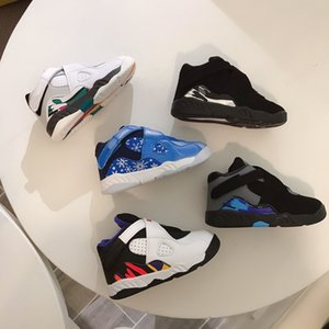 Infant BP 8S SNOWFLAKE kids basketball shoes bright concord infrared 8 sneakers New born Baby sports Children Boy Girl Trainers