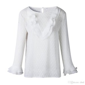 Women Ladies Blouses And Tops Casual Ruffles Lace Polka Dot O Neck Shirt Long Sleeve Blouse WGNVTX13