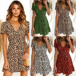 2019 designer Europe and the United States explosion summer print leopard sexy deep V-neck short-sleeved short dress fashion
