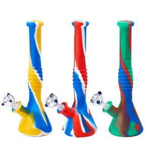New beaker base water smoke Multi silicone pipe smoking vs glass bongs glass water pipe wax dab rig fy2267