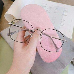 New online celebrity photo case case glasses special lens large capacity pink velvet frameless cutting universal glasses box lens box