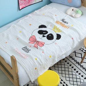 4 Layer High Quality Cartoon Printing Animal Adorable Panda Baby Bedding Blanket Comfortable Pure Cotton Safe Infant Swaddle