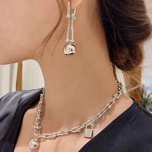 2020 Vintage-Metallverschluss-Halskette für Frauen Punk Ball Halskette Statement Schmuck U Ketten-Halskette klumpigen Bijoux Großhandel