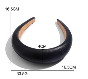 DHL estadounidense diadema brillante de cuero brillante esponja de la manera del aro del pelo espesado gran marca 4cm de cuero de ala ancha tocado femenino