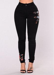 Kadınlar Çiçek Baskı Siyah Kot Seksi İnce Moda Denim Uzun Pantolon Kot Kadınlar Giyim Streewear Skinny Jeans Ücretsiz Kargo 1c3a #