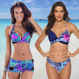 MUOLUX 2020 sırtı açık Çiçek Baskı Tankini Mayo Kadınlar Bikini Seti Retro Mayo Artı boyutu XXXL Mayo İki Adet biquini T200708