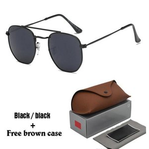 Brand Designer Sunglasses For Men Woman Sun glasses Vintage Metal Hexagonal Frame Reflective Coating Eyewear with cases and box