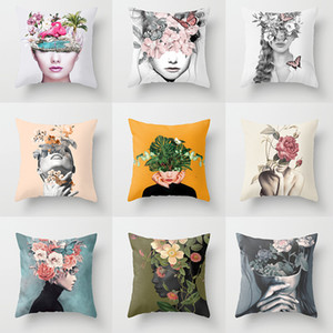 Abstract Print Flower Lady Cushion Cover Sofa Seat Pillowcase Living Room Home Decorative Accessories Pillow Cases 45x45cm