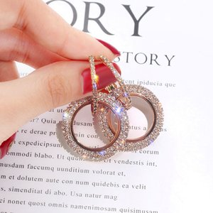 925 aiguilles en argent version coréenne nouvelle mode avec cercle géométrique diamant serti de strass femme boucles d'oreilles pour les femmes eh028