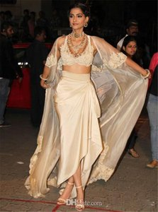 Índia Sarees Sexy Vestidos de noite com revestimento e mangas V Neck apliques Robe De Soiree Chiffon Vestido Longo Vestidos túnicas de soire