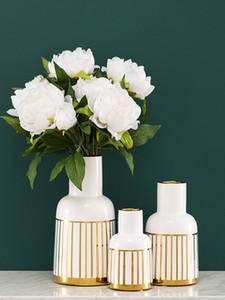 Ceramic flower vase gold line home decor tabletop vase white vase Scandinavian Style