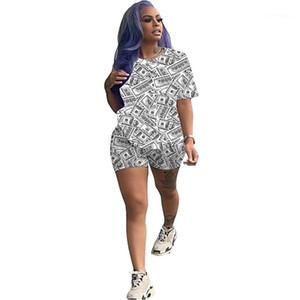 Бюстье Мода доллар Pattern обшитую панелями с коротким рукавом Топ Шорты Женские костюмы Повседневный Natural Color Two