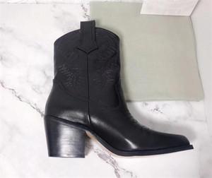 Дизайнерская обувь Женская мода сапоги из телячьей Вышитые лодыжки загрузки натуральной кожи Western Cowboy Ботильоны женские Сапоги зимние с коробкой