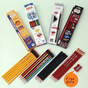 12pcs / Lot Pencils standard noir HB pour le dessin Lapices Papeterie Fournitures de bureau Matériel scolaire Escolar Infantil Avec Gomme