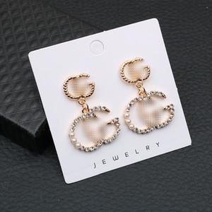 Glänzendes Diamant-Alphabet Ohrstecker Frauen-Marken-hängende Ohrring-GG Letters Designer Ohrringe Vintage Ohrringe Schmuck Accessoires