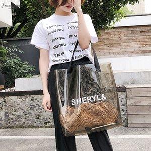 Abdb Transparent No Zipper Womens Handbag Fashion Bag Transparent Plastic Jelly Bag Beach Bag Summer Shoulder