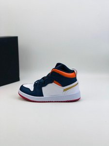 New 2020 1 Kids Basketball Shoes Dark Blue White High Youth Chicago New Born Baby Infant Toddler Trainers Small Boys Girls children Sneaker
