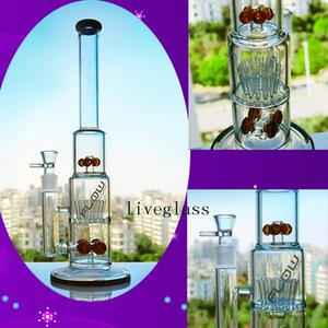 Tall TORO Glass Bongs Big Hookahs Shisha Bubbler Recycler Sprinkler Oil Rigs Glass Water Pipes 2 Function Smoking Accessories 18mm Joint
