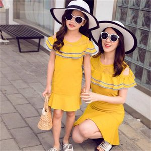 Ruffle Sleeve Mommy and Me Dress for Family Summer Clothes Solid Color Mother Daugnter Dresses Woman Girls Matching Clothing
