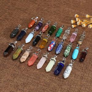 Criativo Pedra Natural Bala Forma cristais baratos de quartzo de cura colares Hexagonal Pillar Forma pingentes de cristal Ágata bullet