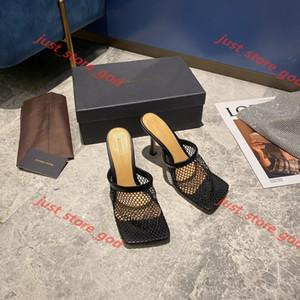 Bottega veneta flip flop Лучшие площади Vintage Toe Stretch насосы Женщины золото Цепные Высокие каблуки 9,5 CoM Женщины Air Mesh дизайн Женская обувь Бесплатная доставка