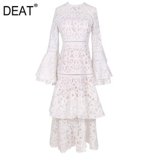 [DEAT]2020 Bohemian Dress Women Vintage Hollow Out Flare Sleeve High Waist Flare Sleeve Multi-layer Elegant Fashion AM595