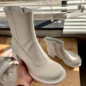 New fashion sexy white black women's leather boots thick bottom boots ladies round toe