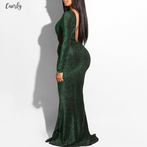 Clocolor Elegant Sequin Green Backless Ladies Sheer Evening Polyester Fashion Women Mermaid Tight Party Club Long Sexy Dress Bodycon
