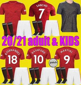 мужчина ребенок 2020 2021 SANCHO BRUNO FERNANDES Манчестер футбол единый Джерси Kit 20 21 RASHFORD Футбол Рубашка Utd Дети взрослых набор обмундирования
