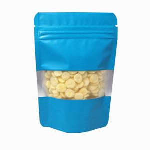 100 unids / lote mate azul doypack aluminio plástico plástico plástico bolso de embalaje con la ventana Mylar Self Seal Snack cremallera bolsas de paquete