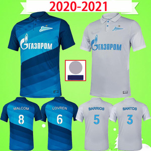 20 21 FC Zenit St. Petersburg Fussball Jersey Home Away Blue Grey Malcom Lovren 2020 2021 Santos Barrios Football Hemd Maillots de Foot