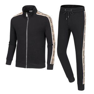 New 2020 men's zip-up tracksuit fashion side stripe hoodie jacket trousers track suit men's casual 2-piece hoodie
