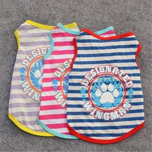 2020 neuer Sommer Haustier Hunde-Bekleidung Mode-Streifen-Weste kleine Hunde Welpen-verursachender Ärmel T-Shirt für Yorkshire Chihuahua-Kleid