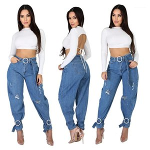 Pencil Jeans for Woman Casual Blue Ladies Jeans Vintage Designer Womens Jeans Spring Autumn Holes High Waist Loose Long