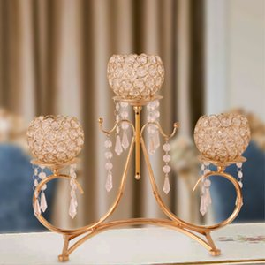 Crystal Candle Holders Golden Plated 3-arms Candlestick Metal Candelabra Pendants For Home Decoration Or Wedding