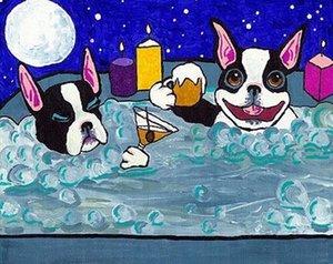 VERN Ev Dekorasyonu İnşaat Müteahhitleri / Açık Tuval Wall Art Canvas Resimler 200.716 Boyama HD Baskı Yağı Boyama BOSTON TERRIER Jakuzi Köpek Hayvan sanat