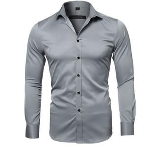 Нежный Mens бизнес Тонких рубашки Людей отворот шея длинного рукав кнопка платье рубашка для мужчин Высокой моды Рабочей одежда
