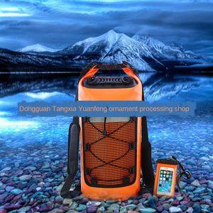 New outdoor reflective swimming pvc drifting waterproof bucket bag IPX-grade Mesh mesh cloth cloth roll folding bag hot sale L