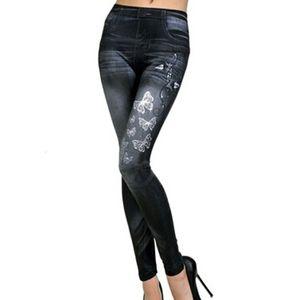 Hi-Tech de alta calidad de impresión de la mariposa polainas de las mujeres ocasional sólida Leggin Vaqueros Mujer Denim Legging Legging