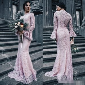 Pink Black Lace Bridesmaid Dresses 2020 Scalloped High Neck Long Juliet Sleeves Mermaid Maid of Honor Gown Wedding Guest Formal Evening Gown