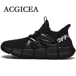 ACGICEA los hombres respirables 2020 zapatillas de deporte negras ligeros Deportes seguro de usar atan para arriba los zapatos de los hombres Zapatillas De Hombre