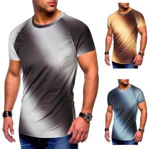Luva curto da cor camisetas Casual Crew Neck Magro Tshirts Mens Vestuário Mens Verão T-shirts Designer Gradient