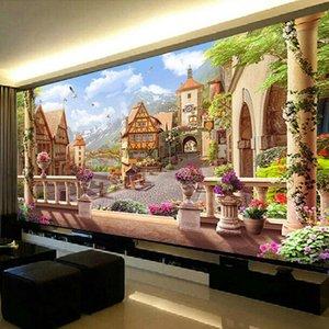 QIANZEHUI, estilo DIY 5D Europeia exótica mansão Bordado, diamante rodada completa strass Diamante pintura ponto cruz, bordado T200111