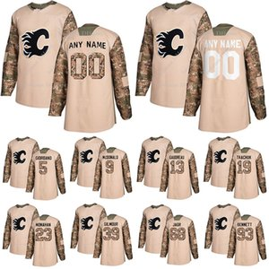 Calgary Flames Camo Veterans Day Practice jerseys 13 Johnny Gaudreau 19 Matthew Tkachuk 23 Monahan custom any number any name hockey jersey