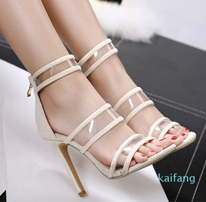 Горячая продажа-Fashion Model European American Style Sexy Прозрачное на высоких каблуках рыбы рот Peep Toe Женщины сандалии 344