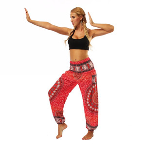 Sexcer Red mandala circle galaxy floral Printed stretchy High rise Straight Loose leggings lounge Bloomers pocket yoga pants