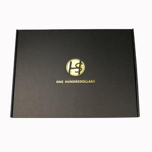 100PCS / lot caixa de papel preta feita sob encomenda ondulado logotipo impresso caixas de transporte mailer Embalagem T-shirt caixas Vestuário Roupa interior Polo
