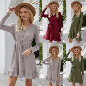 Women V Neck Front Tie Bow Bandage Autumn Dress Sexy Knitted Short Dress Casual Long Sleeve Elegant Mini A-Line Dresses