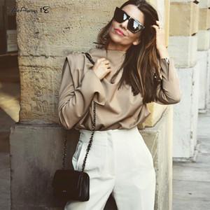 Mnealways18 drapeado sólido de color caqui tops y blusas de primavera elegante blusa de la Oficina de la Mujer acanalada Trabajo Top de manga larga Camisa de las señoras 2020 CX200711