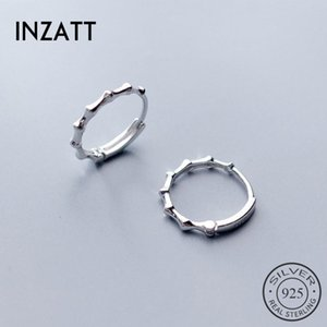 INZATT Real 925 Sterling Silver Ethnic Bamboo Geometric Round Hoop Earrings For Charm Women Party Minimalist Fashion Jewelry